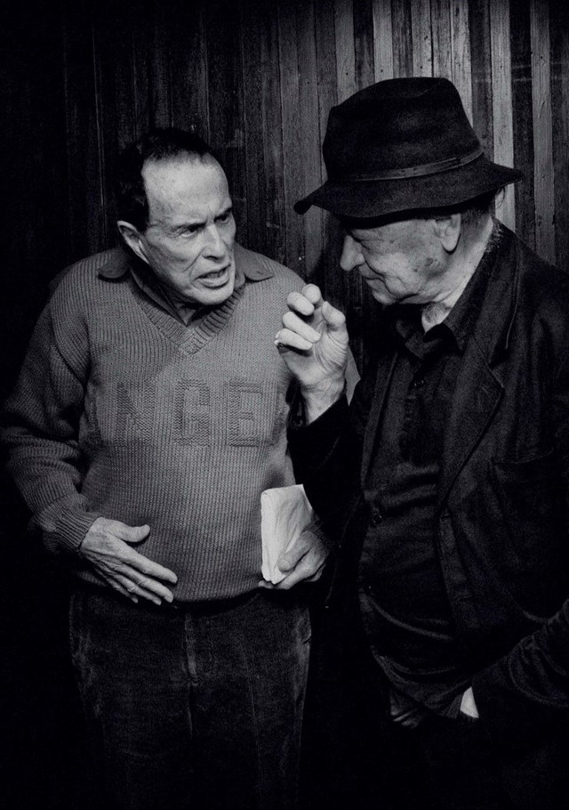 Kenneth Anger and Jonas Mekas at the gala fundraiser for the