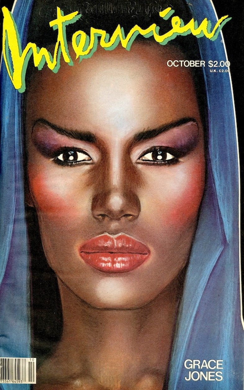Grace Jones on the cover of Interview magazine